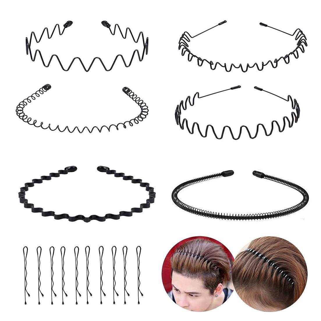 所持賞妊娠したLzpzz メタル髪のフープユニセックス波状ヘアバンドメタルヘアバンド - メンズ女性のための10個の金属ボビーピン非スリップが広い帽子と黒の春のスポーツヘッドバンド