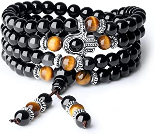 108 Mala Obsidian Stone Hamsa Hand Bracelet Necklace