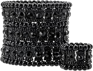 YACQ Women's Multilayer Stretch Cuff Bracelets Fit Wrist Size 6-1/2 to 7-1/2 Inch - Soft Elastic Band & 3 Row Crystals - 2 Inch Wide - Lead & Nickle Free