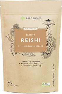 Bare Blends Reishi Mushroom - Australian Certified Organic (ACO) - Immunity Support - 90g