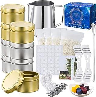 McNory Kit de Fabrication de Bougies de Cire Bricolage parfumées,DIY Bougies, 50 mèches de Bougie,1 Pot de Fabrication,8 b...