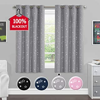 H.VERSAILTEX Blackout Curtains for Bedroom Thermal Insulated Star Pattern Nursery Night Sleep-Enhancing Ring Top Drape Window Treatment for Kid's Room Sold 2 Panels (Each 52