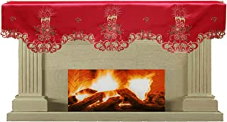 Creative Linens Holiday Christmas Embroidered Poinsettia Candle Bell Mantel Scarf 19x70 Red Gold Winter Fireplace Decoration