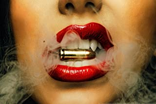Red Lips Smoking Bullet by Daveed Benito Cool Wall Decor Art Print Poster 12x18