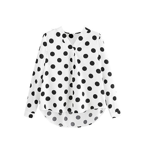22265012ca8 Floerns Women's V Neck Long Sleeve Striped Chiffon Blouse Top