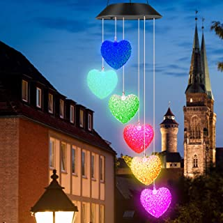 BINWO Solar Wind Chimes, Wind Chime Solar Lights, Love Heart Wind Chimes Led, Crystal Ball Indoor Outdoor Decor, Solar Lig...