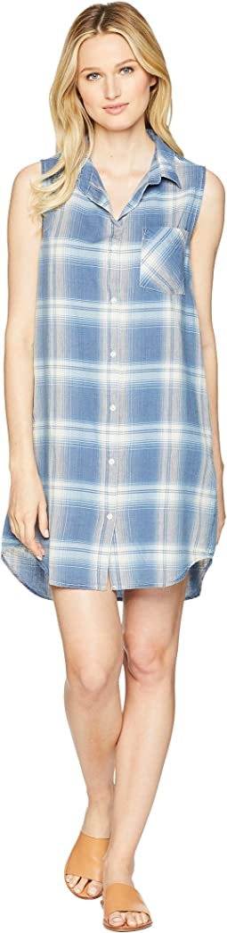Washed Indigo Cali Plaid Sleeveless Shirtdress