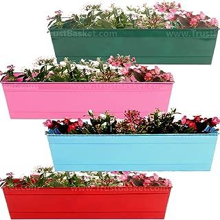Trust Basket Set of 4 Rectangular Railing Planter-Red, Magenta, Teal, Blue (23 Inch)