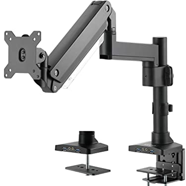 VIVO Premium Aluminum Single Monitor Pneumatic Spring Arm, Desk Mount Stand with Extension Pole and USB, Fits 1 Screen up to 32 inches, STAND-V101GTU