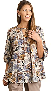Womens' Floral Pleated Flowy Boho 3/4 Bell Sleeve Chic Top Blouse
