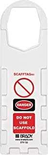 """Brady SCAF-STH132 Plastic, 11-3/4"""" Height, 3-1/2"""" Width, White Color Scafftag Holders, Front Legend """"Danger, Do Not Use Scaffold"""" (Pack Of 10)"""