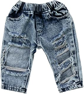 FriBabyfat Toddler Newborn Baby Boys Girls Causal Elastic Waist Destroyed Ripped Jeans Pants