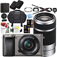 $748 Get Sony Alpha a6000 Mirrorless Digital Camera with 16-50mm & 55-210mm Lens (Gray) ILCE-6000L/H with Extra Battery Case + 2X Lexar Professional 633x 32GB SDHC/SDXC UHS-I Card Bundle