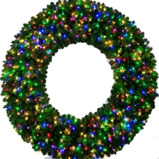 Giant Wreath - 6 Foot Multi Color L.E.D. Christmas Wreath - 72 inch - 600 LED Lights - Indoor - Outdoor