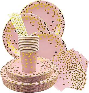 solawill 60 Pièces Vaisselle Jetable Rose, Ensemble De Vaisselle Jetable Vaisselle de fête Jetables,Comprendre Assiettes e...
