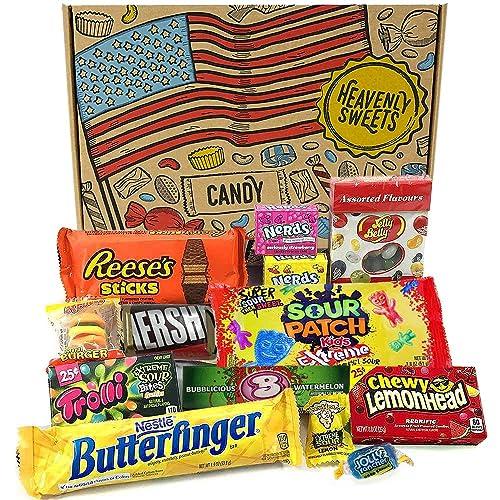 Geschenkkorb mit saure amerikanische s/ü/ßigkeiten Sour Jelly Beans Auswahl beinhaltet Warheads Extreme 17 Produkte in tollen Geschenkebox Super Saures Geschenkset aus den USA