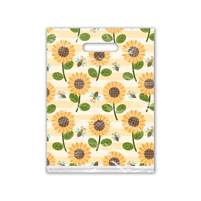 9x12 (100) Sunflower and Bumble Bees Designer Retail Boutique Merchandise Bags with Handles Premium Printed Shopping Bags