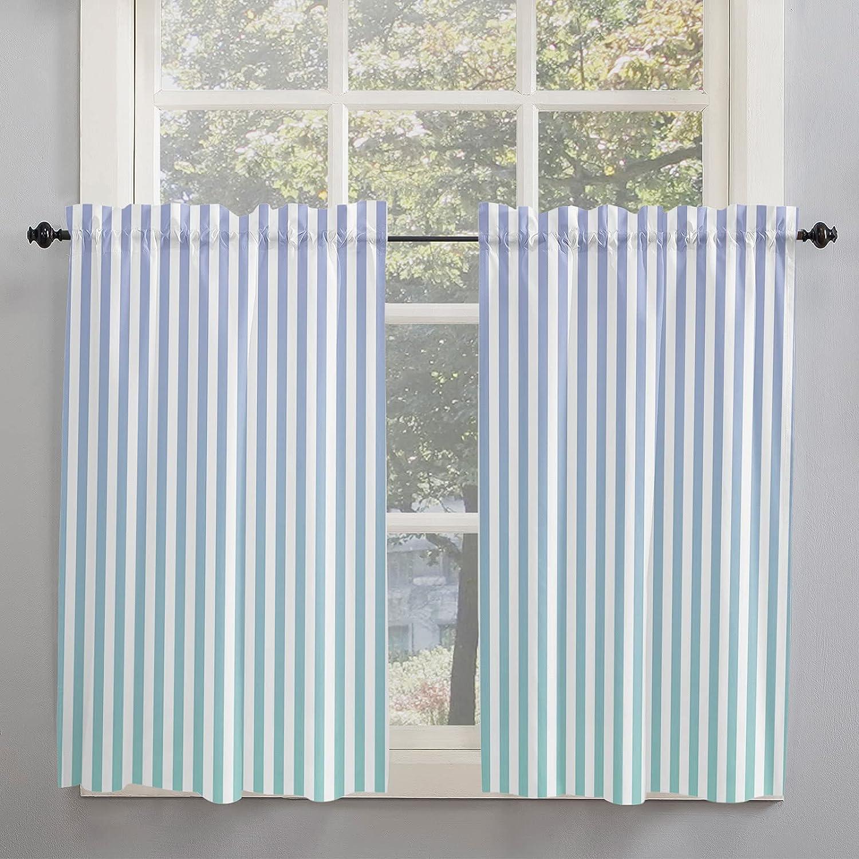 Minimalism Blue-Purple Ombre Vertical Pinstripe Kitchen Curtains
