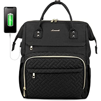 Laptop Backpack for Women Fashion Business Computer Backpacks Travel Bags Purse Student Bookbag Teacher Doctor Nurse Work Backpack with USB Port Fits 15.6 Inch Laptop Black
