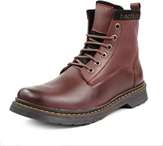 Bacca Bucci 6-Eye Genuine Smooth Leather Moto Inspired Combat High top Ankle Boots for Men