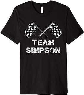 Vintage Team Simpson Family Name Checkered Flag Racing Premium T-Shirt