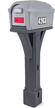 Simplay3 Classic Plastic Residential Mailbox & Post Mount Combo Kit with 2 Access Doors - Light Gray/Dark Gray