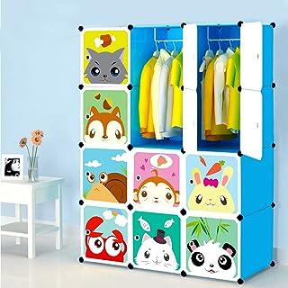 Armoires Etagères Plastiques Enfants Bleu, Armoires Penderie Meubles de Rangement 12 Cubes pour Vêtements Chaussures Jouet...