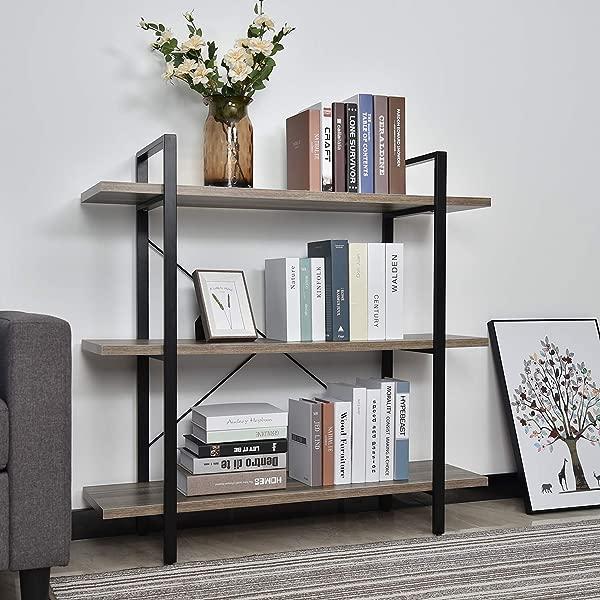YU YUSING 3 Tier Industrial Bookcase Book Shelves Vintage Wood Metal Bookshelf Furniture Plant Flower Stand Rack Storage Shelves 3 Tier Bookshelf