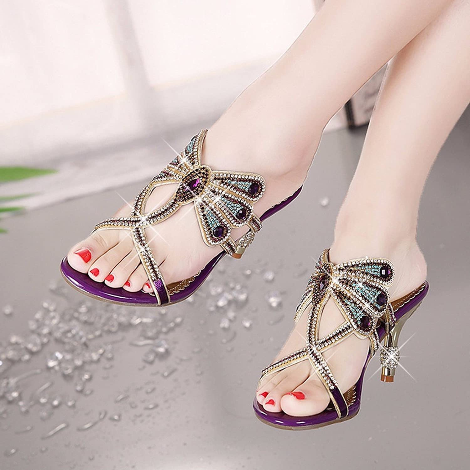 GTVERNH Women's shoes Fine Heels Fish Mouths High Heels Slippers Summer Flowers Water Auger Diamonds.