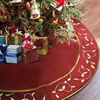 ANOTHERME Large Christmas Tree Skirt Red 60 inch, Deluxe Handmade with Holly Leaves, Xmas Decoration, Burgundy
