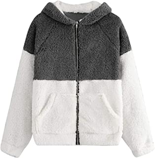 Winsummer Women's Fuzzy Sherpa Fleece Full-Zip Hooded Jacket Casual Long Sleeve Hoodie Sweatshirt Outwear Tops