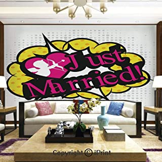Lionpapa_mural Artistic Background Removable Wall Mural Self-Adhesive,Pop Art Style Design Cupid Bow Arrow Love in The Air Just Married Retro,Home Decor - 100x144 inches