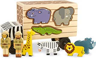 Melissa & Doug Animal Rescue Shape-Sorting Truck (Wooden Toy With 7 Animals and 2 Play Figures, Great Gift for Girls and Boys – Best for 2, 3, and 4 Year Olds)