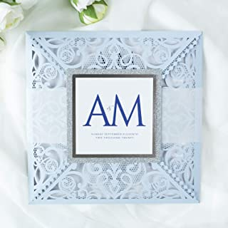 50 CARTE CONFEZIONE Azzurro opaco carta con busta partecipazioni matrimonio taglio laser fai da te inviti matrimonio