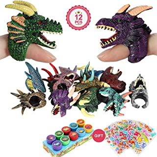 34 PCs Dinosaur Party Favors Dragon Fossil Rings Dinosaur Stickers Tattoos Assorted Colorful Dinosaur Stampers Classroom Prizes Party Dinosaur Toys for Kids Boys Girls