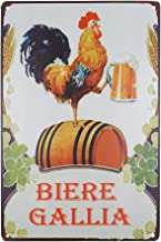 SKYC Biere Gallia Funny Designs Rooster Beer Tin Sign Vintage Retro Rustic Metal Tin Sign Pub Store Wall Deco Art 8X12Inch