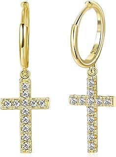 Damen Ohrringe Kreuz Ohrhänger Creolen aus Edelstahl Cross Earrings in Roségold