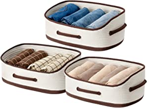 UBBCARE Woven Closet Storage Bins Cotton Rope Trapezoid Storage Baskets Off-White Foldable Decorative Shelf Basket with Th...