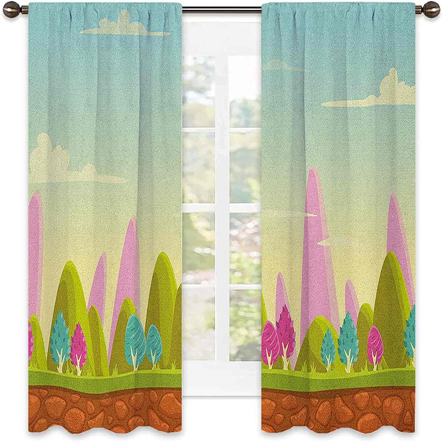 Popular Genuine Free Shipping overseas Forest Wear Resistant Color Curtain Landscape f Cartoon Fantasy