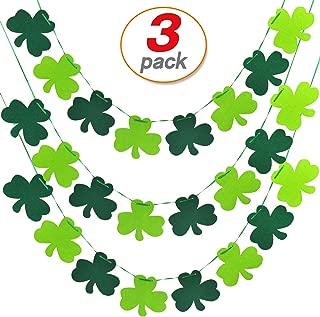 3 Pack Shamrock Clover Garland Banner St patrick's Day Shamrock Banner Irish Party Supplies St.patrick's day decorations
