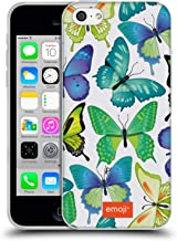 Official Emoji Green and Blue Butterflies Soft Gel Case Compatible for iPhone 5c