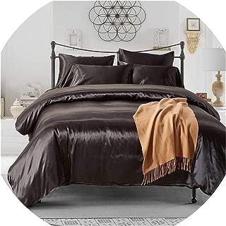 The fairy 2Pcs/3Pcs/4Pcs Nordic Style Silk Bedding Set Queen Size Satin Grey Duvet Cover Solid Color Set Simple Beautiful Bedclothes,07,UK Single 2Pcs