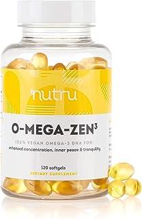NuTru O-Mega-Zen3 Vegan Omega 3 DHA Supplement - 400 mg DHA Essential Fatty Acids- Algal Based Fish Oil Alternative - Supp...