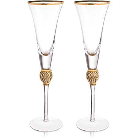 Anniversaries Double Heart Champagne Toasting Glass Flutes and Cake Server Set for Weddings or Parties