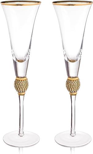 """Trinkware Copas de champaña de boda con diamantes de imitación """"diamante"""" con borde dorado – tallo largo, 7oz, 11 pul..."""