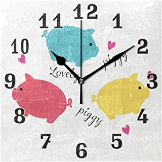 AUUXVA Toprint Cute Pig Pattern Colorful Square Acrylic Wall Clock, Silent Non Ticking Art Painting Clock for Kids Girls Children Bedroom Living Room School Home Decor