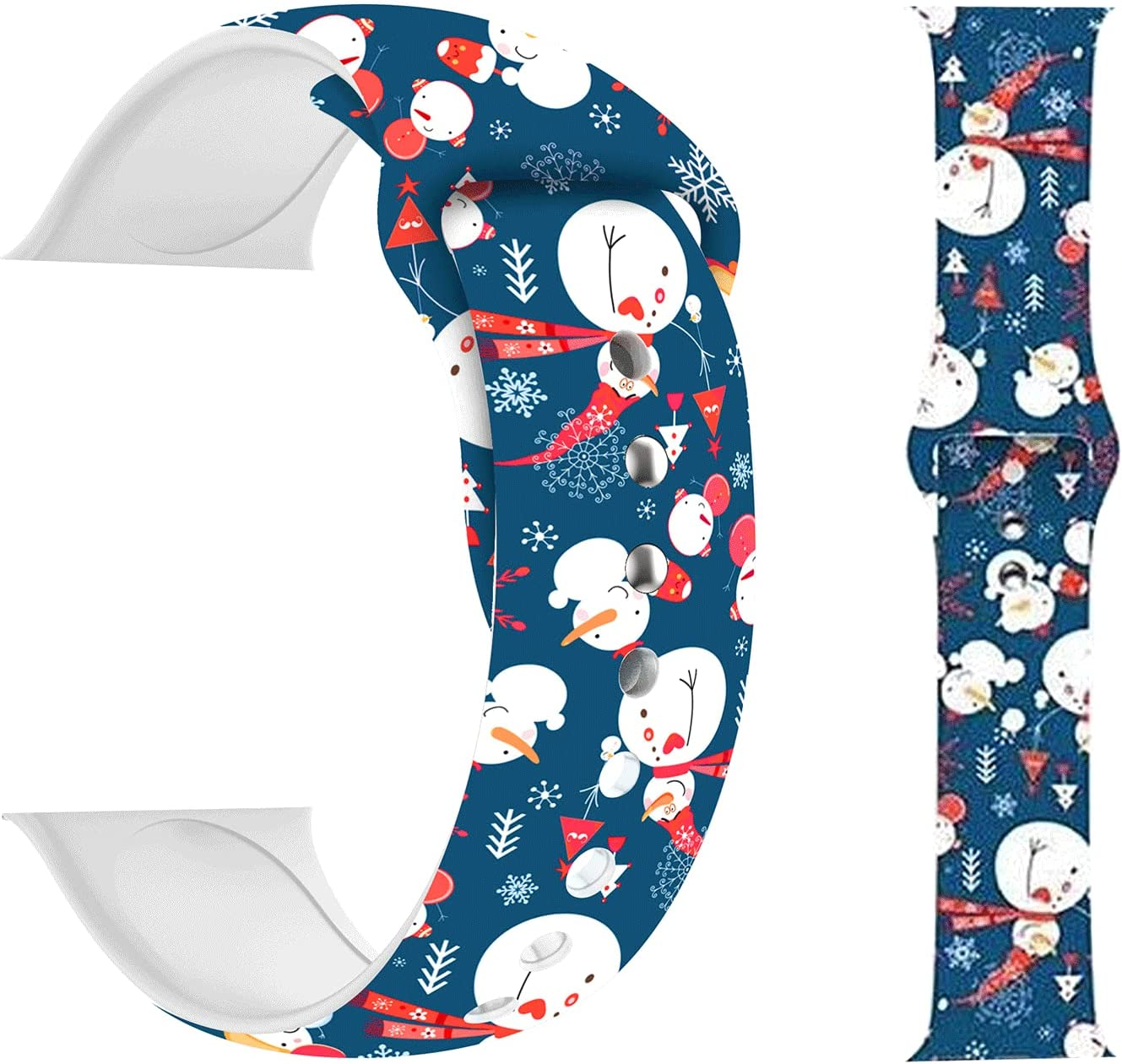 HYHMXB Chic Breathable Christmas Bands Compatible for Apple Watach 38mm 40mm, Grade Soft Silicone Sports Wristband Strap for iWatch SE & Series 6/5/4/3/2/1 (Snowman Blue)