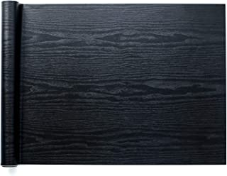 Homein Black Wood Paper Self Adhesive Decorative Matte Woodgrain Vinyl Film Marble Adhesive Waterproof Removable Peel and Stick Wallpaper Thick Roll for Countertop Shelf Drawer Liner 17.5x78.7 inch