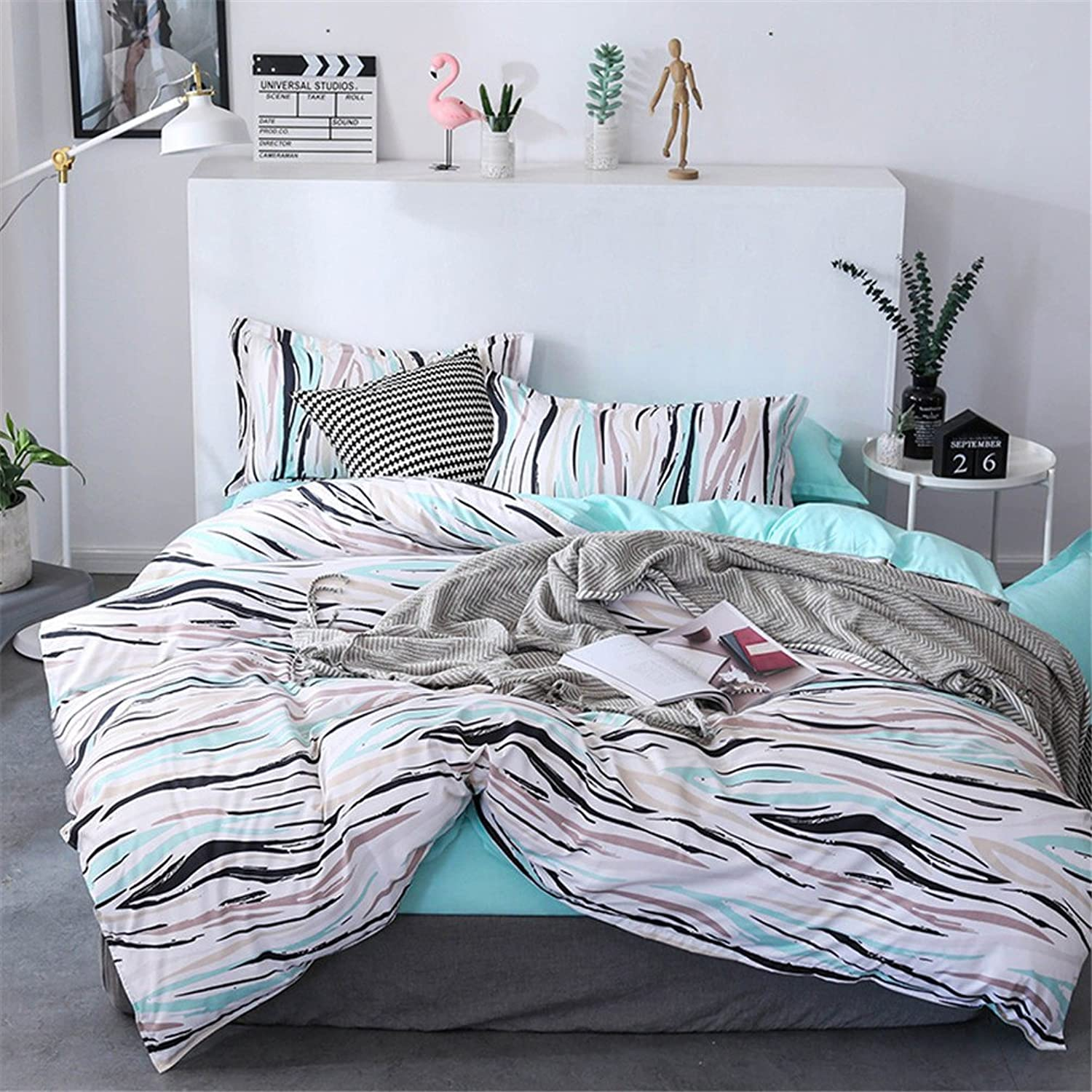 The Multicoloured Green Reversible Irregular Pattern Duvet Cover Set Soft Breathable Boys Girls 4ps(Kingxz)