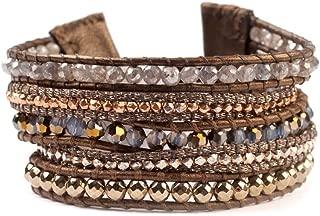 Goldtone Mineral Stone Mix Swarovski Crystal Wrap Brown Leather Bracelet Adjustable
